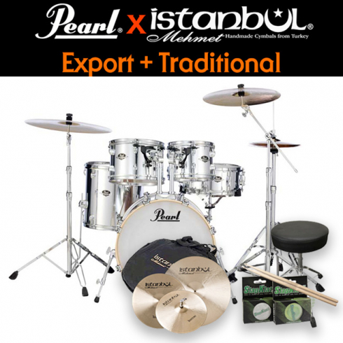 [스쿨뮤직]Pearl New Export + iStanbul Traditional / 드럼+심벌세트 패키지 (Mirror Chrome)